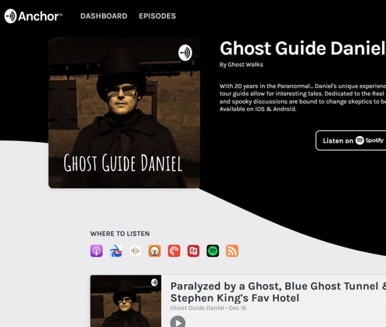 Ghost Guide Daniel Podcast - Available iTunes, Spotify and more
